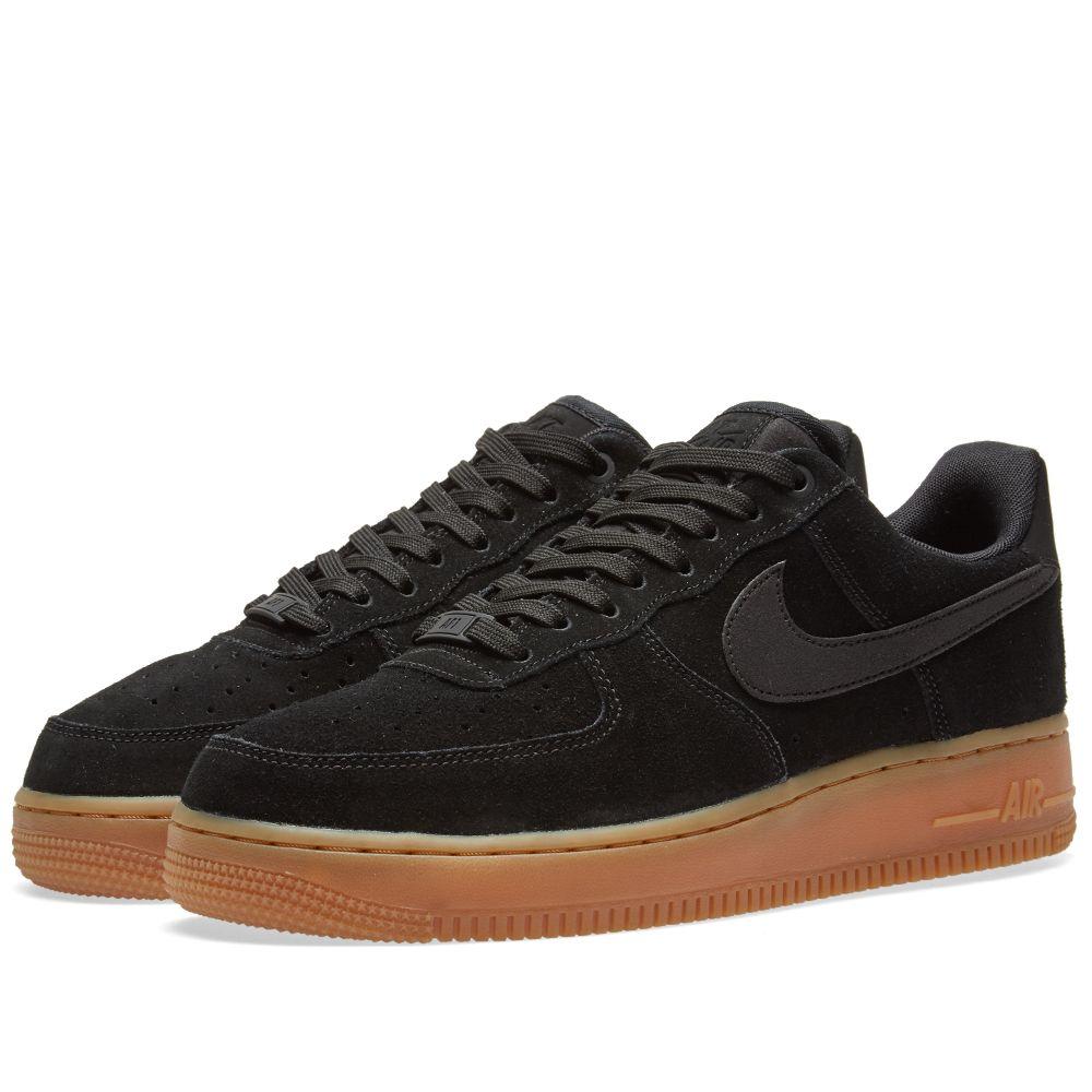 Nike Air Force 1  07 LV8 Suede. Black, Gum   Medium Brown. HK 729. image c7c0f5d5f933