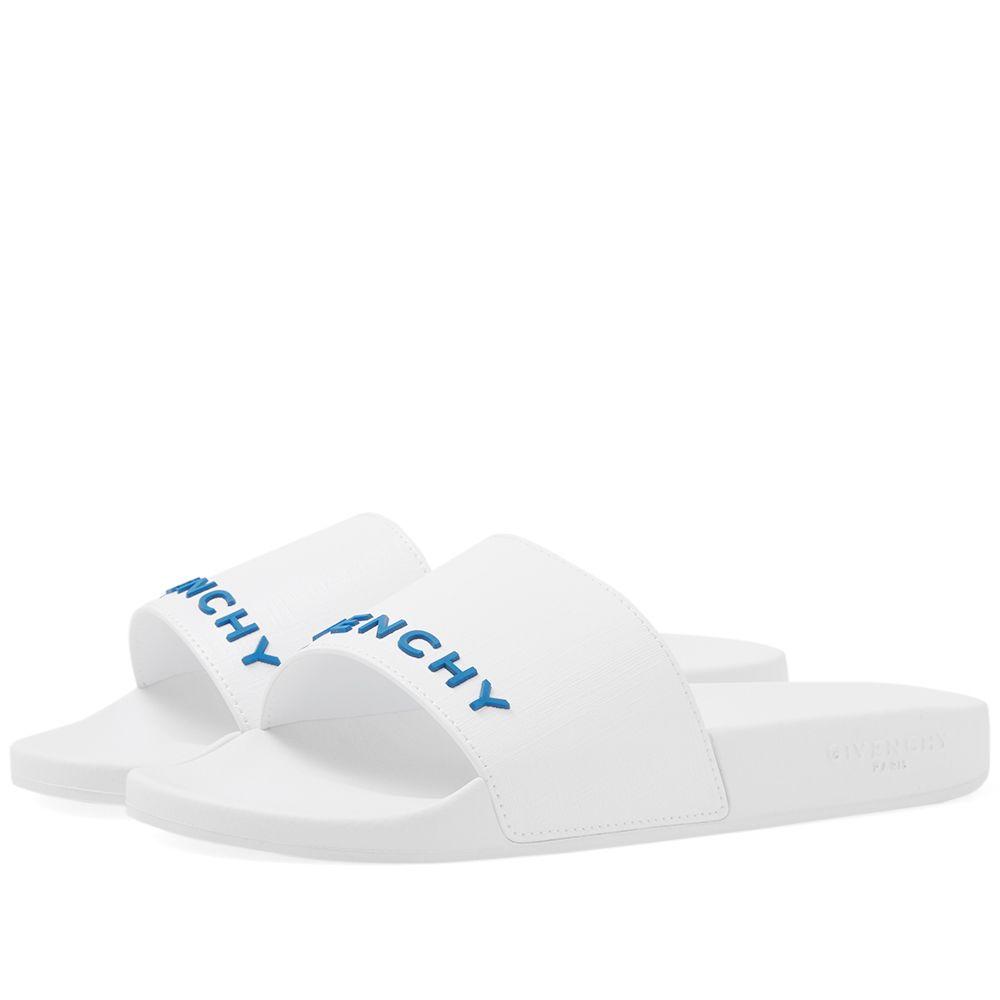2ebbddb615ca Givenchy Rubber Logo Slide White   Blue
