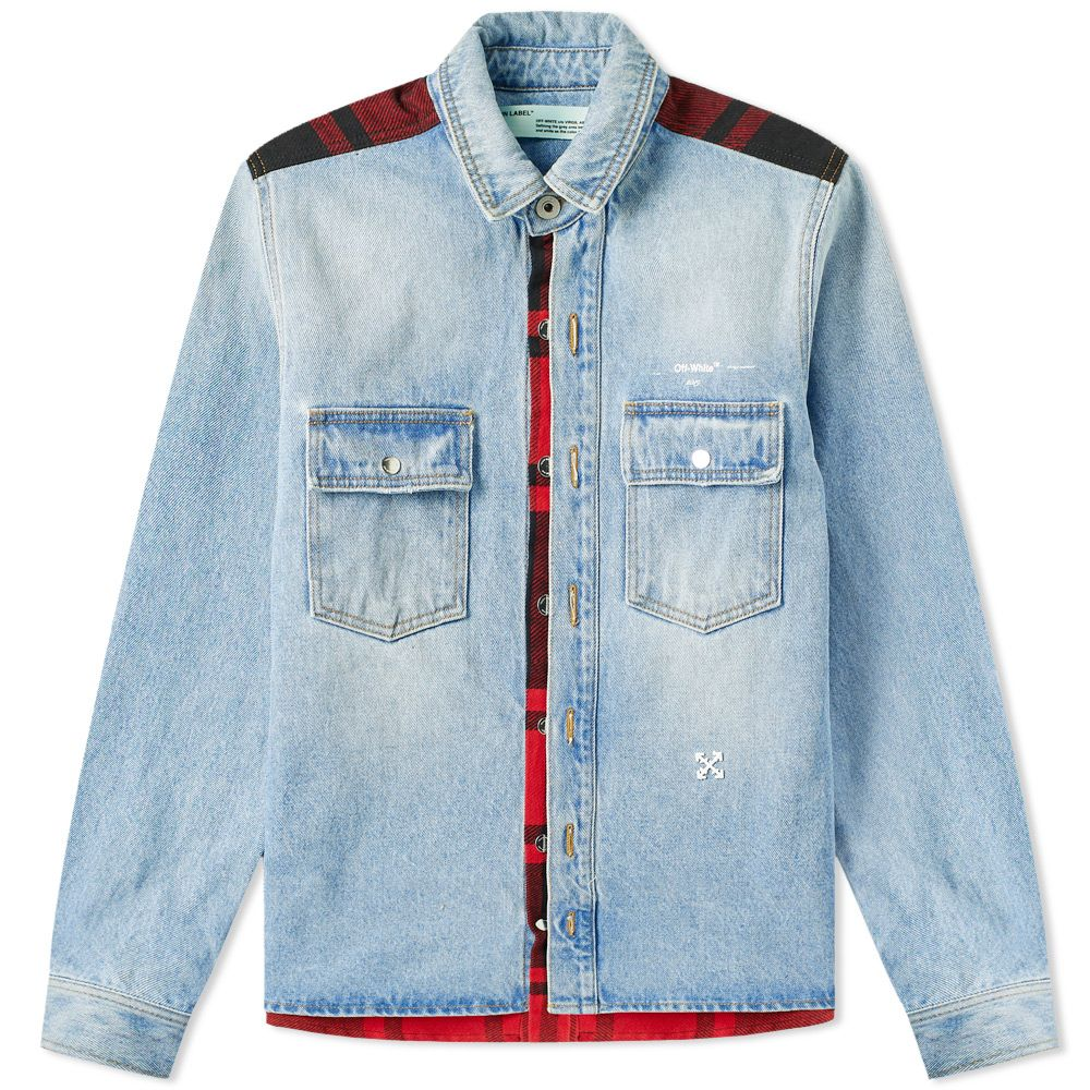 055240cbc4 Off-White Reconstructed Flannel Vintage Denim Shirt Vintage Wash