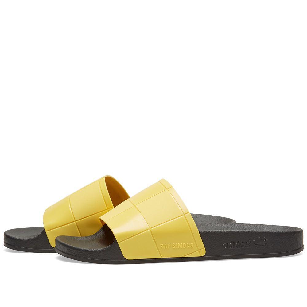 1cd5698a414a6 Adidas x Raf Simons Adilette Checkerboard Black   Super Lemon
