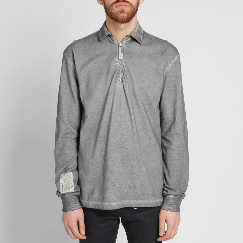 check out 34977 2642b A-COLD-WALL Long Sleeve Quarter Zip Polo Medium Grey  END.