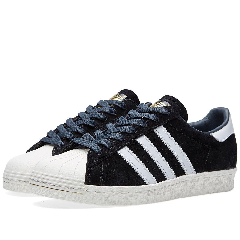 9111c935508b Adidas Superstar 80s DLX Suede Black   Vintage White