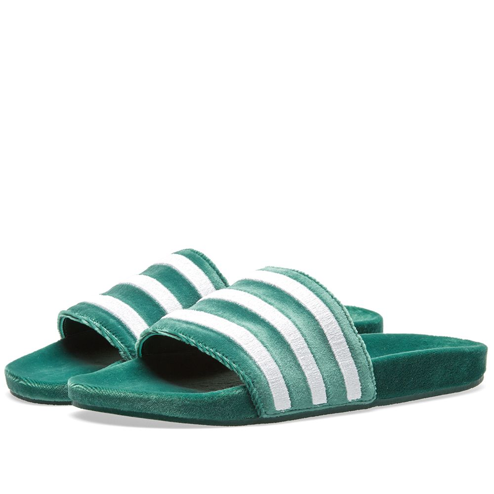 3378c21eabf1d2 Adidas Adilette Colliegiate Green   White