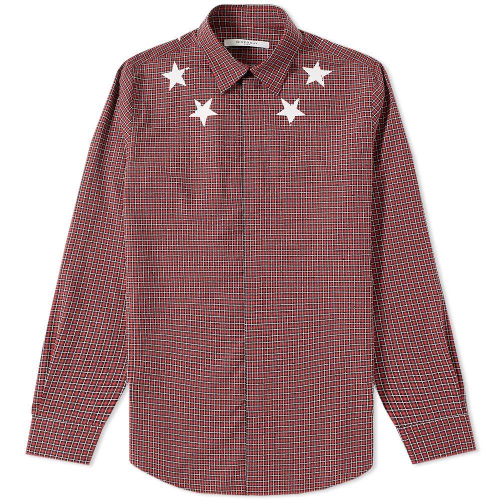 3ec91f356e7c Givenchy Star Check Shirt Red   Black