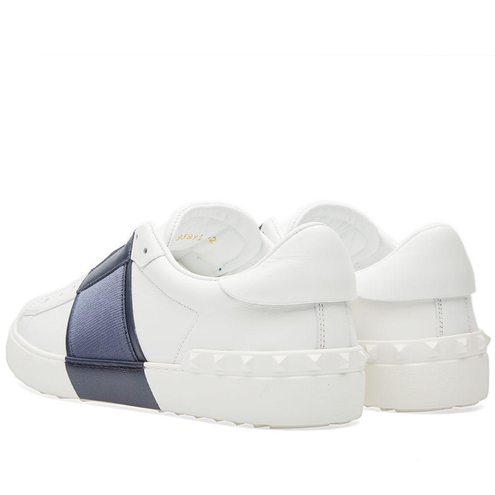 7ffb90b672f2 Valentino Open Slip On Sneaker White   Navy