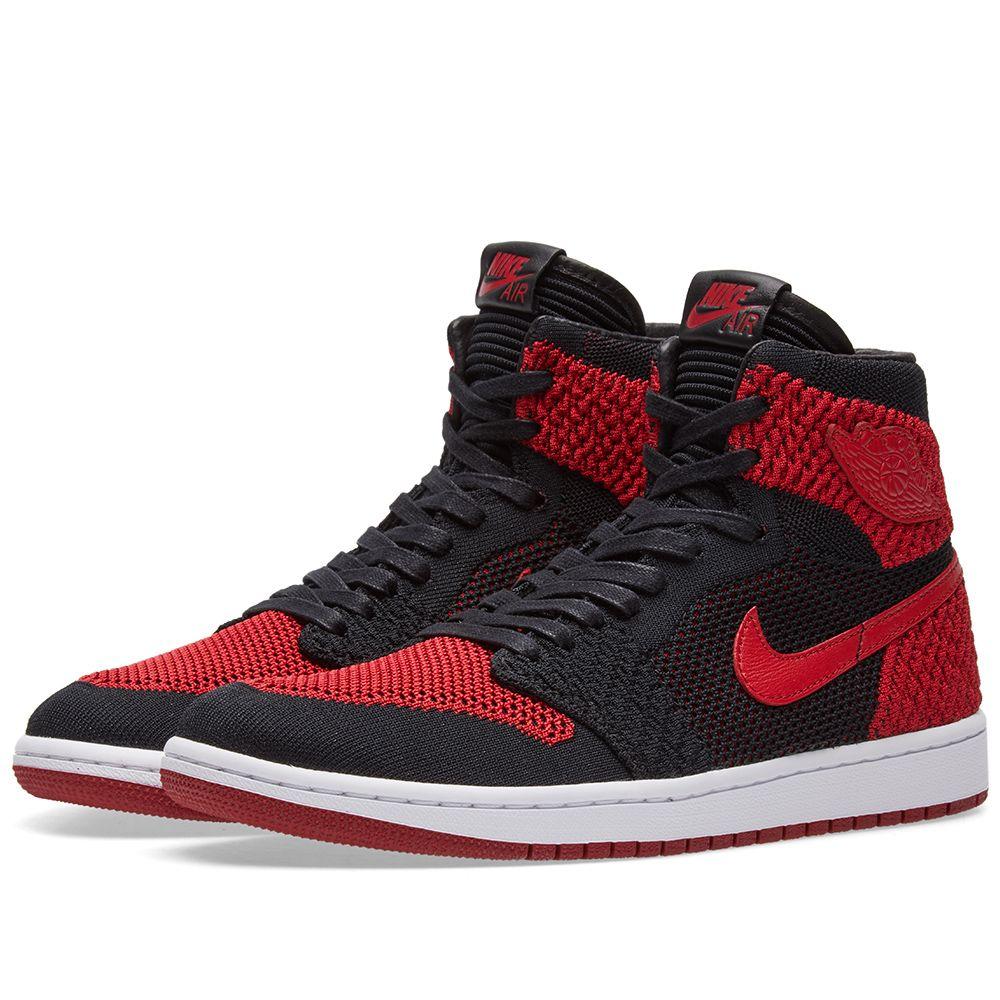 33f2424ae73 Nike Zoom Air Jordan 1 Retro High Flyknit. Black, Varsity Red & White.  CA$215. image