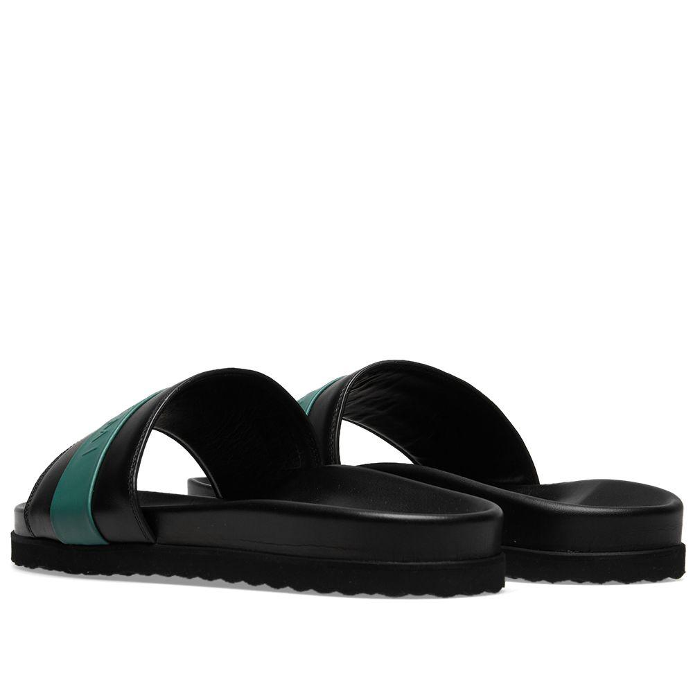 2999f89679cd18 Buscemi Leather Logo Slide Black   Green