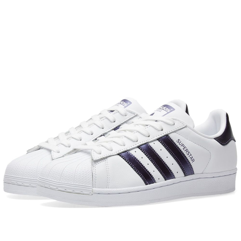 Adidas Superstar W. White   Purple Night Metallic. CA 115 CA 69. image facc8c81bffd
