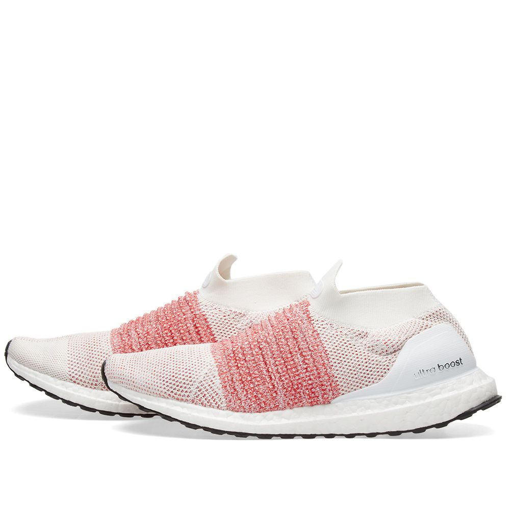 Adidas Ultra Boost Laceless White   Trace Scarlet  be31bfa4c