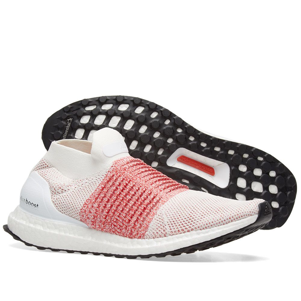 low priced 4e2c3 dddc4 Adidas Ultra Boost Laceless. White  Trace Scarlet
