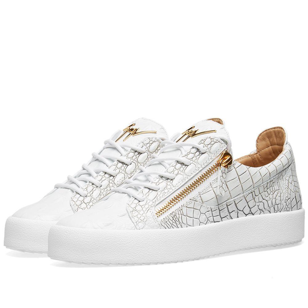 eccef59893f0 Giuseppe Zanotti Double Zip Low Croc Sneaker White   Gold