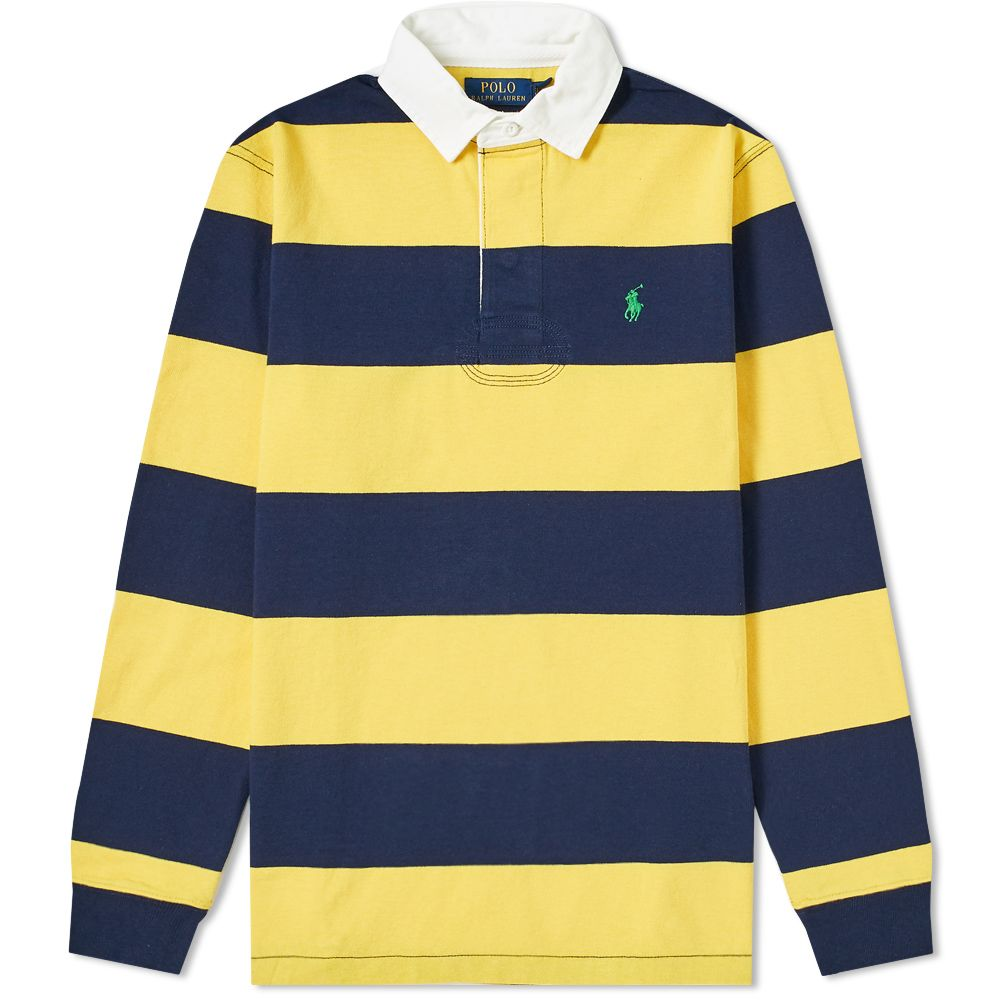 Polo Ralph Lauren Long Sleeve Striped Rugby Shirt. Chrome Yellow   Cruise  Navy. £125. image 2233abe202a