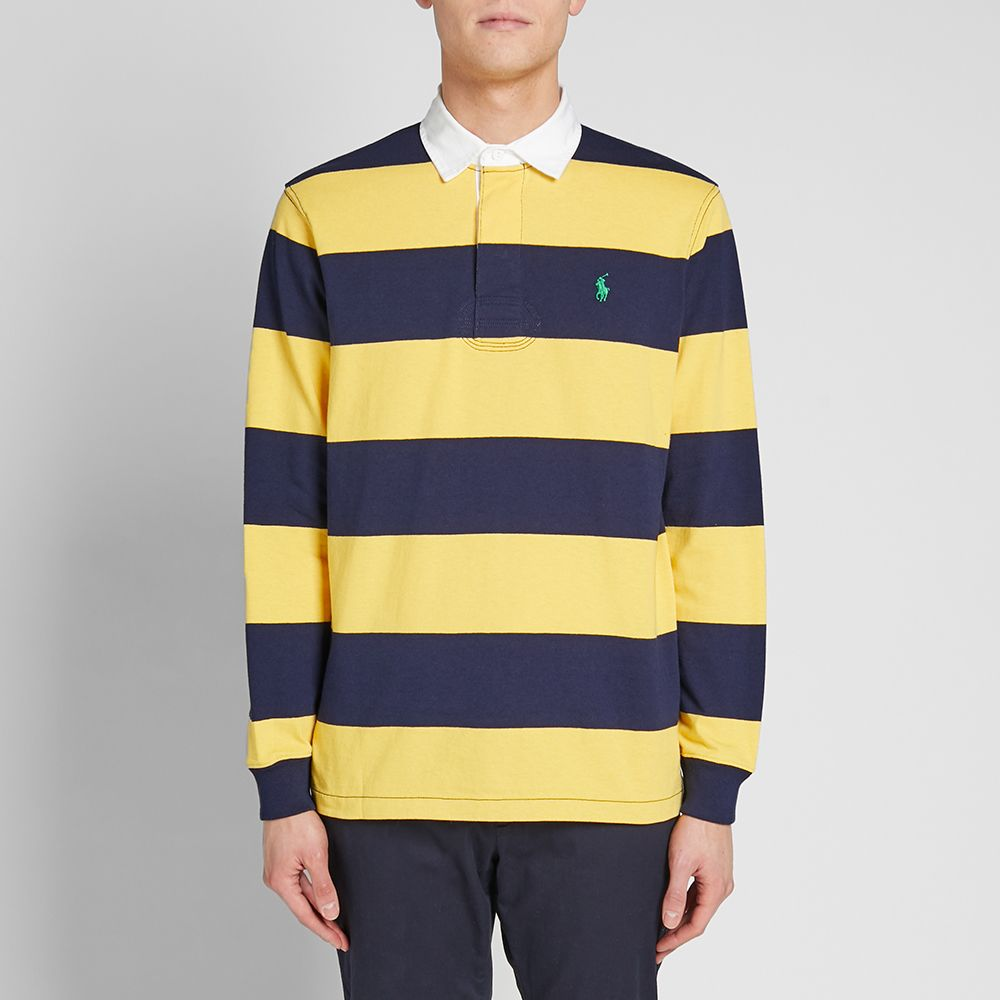 97c3895ffa2b1 Polo Ralph Lauren Long Sleeve Striped Rugby Shirt Chrome Yellow ...