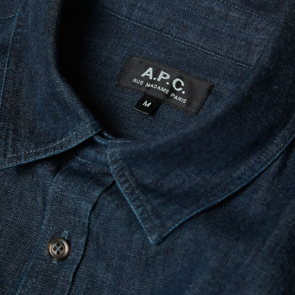 Apc Rinsed Denim Tab Collar Shirt Indigo End