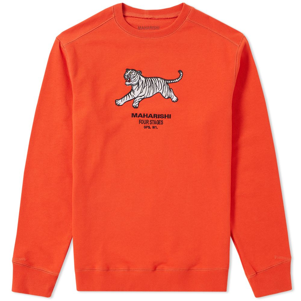 9899ef0c3c1e Maharishi Tiger Embroidered Crew Sweat Orange
