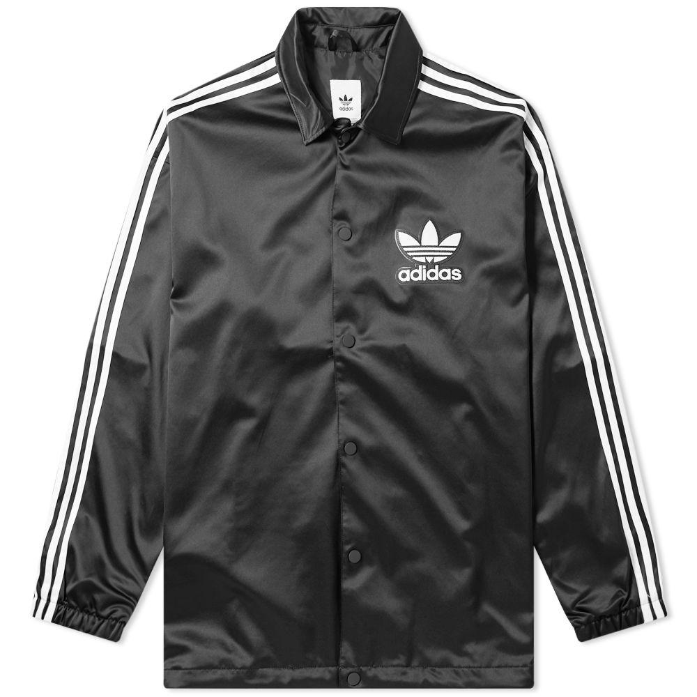 b4c893df6fdcd Adidas Satin Coach Jacket Black   White