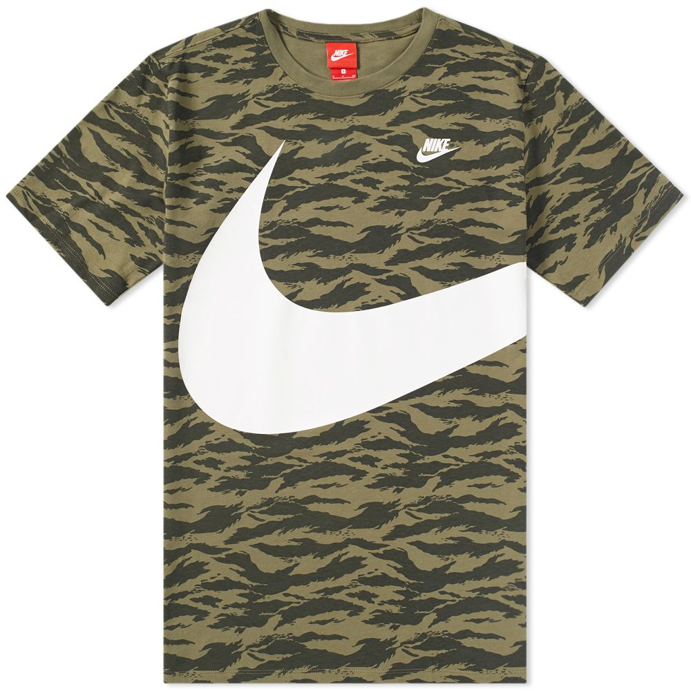 f9f5172e Nike AOP Swoosh Tee Medium Olive & White | END.