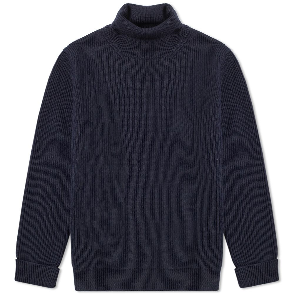 3ac4646f568 Maison Margiela 14 Rib Mock Neck Crew Knit Dark Blu
