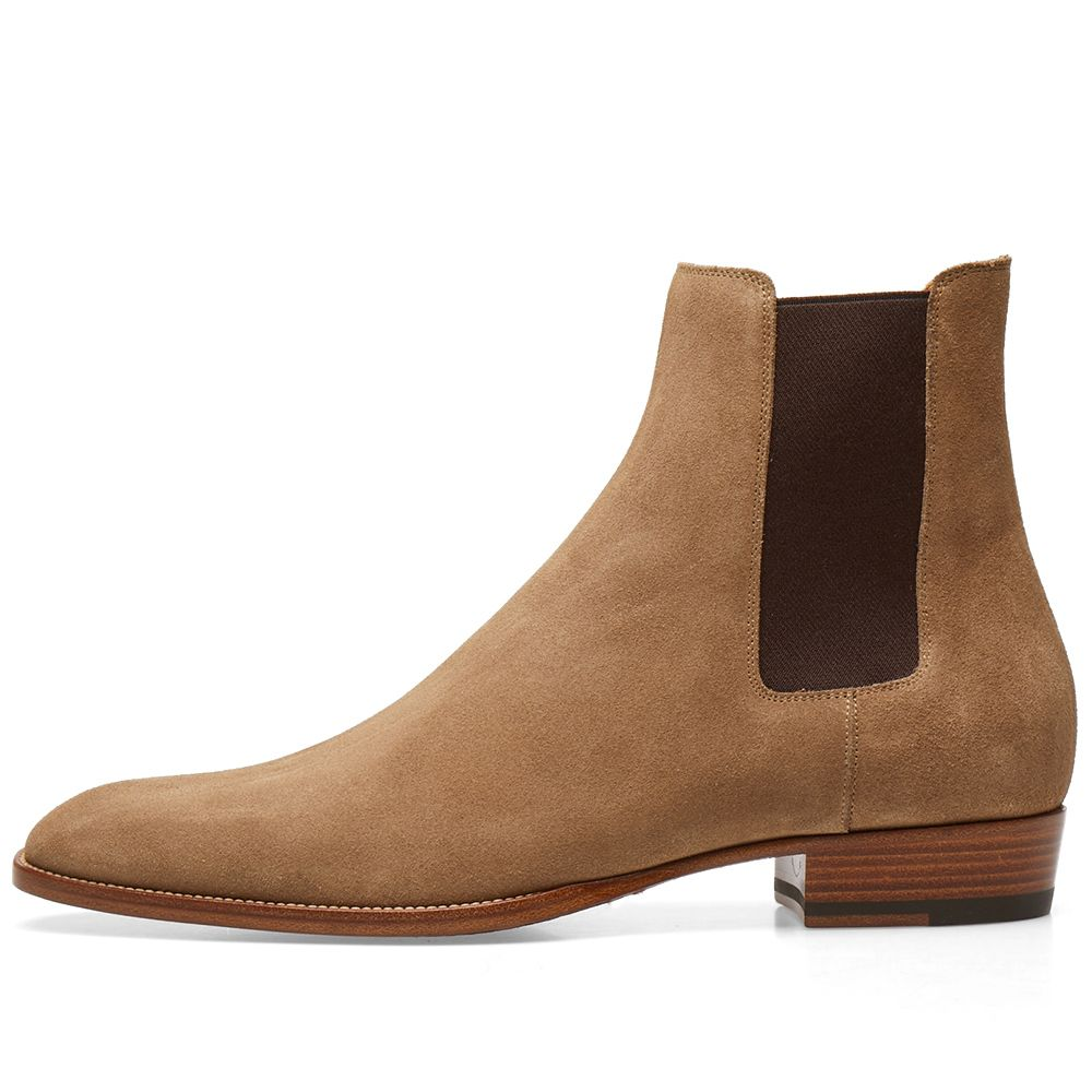Saint Laurent Wyatt Suede Chelsea Boot Light Cigar  48114588d716