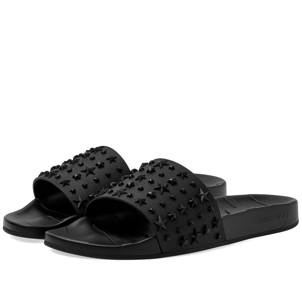 32279f72bcd2 Jimmy Choo Rey Studded Pool Slide Black