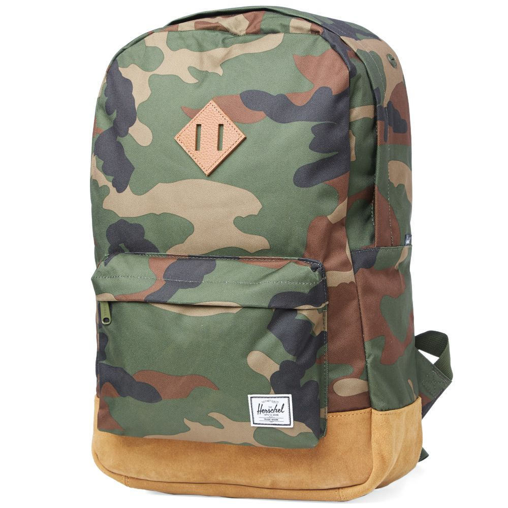 54e436bc0503 Herschel Supply Co. Heritage Backpack Woodland Camo   Tan Suede