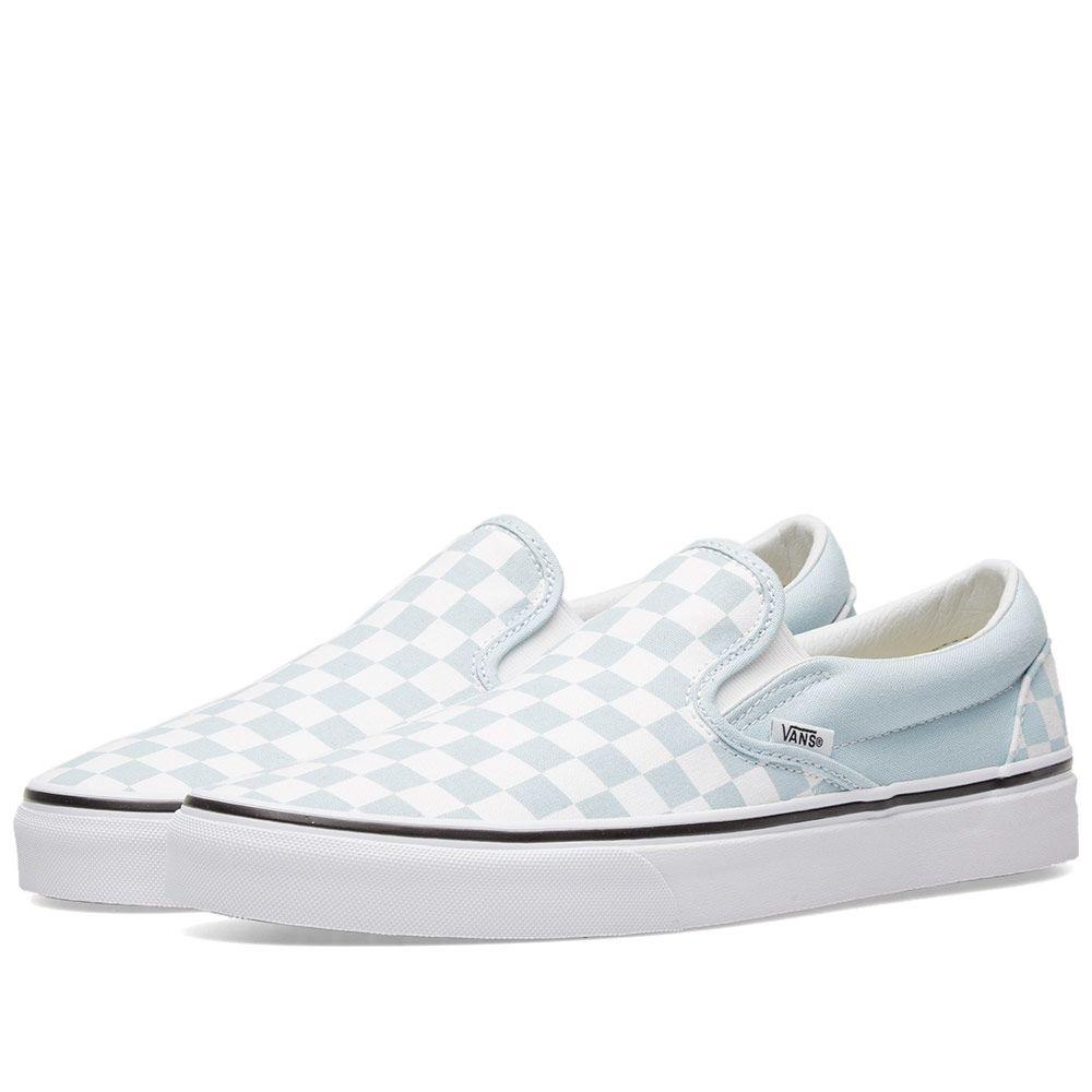 edb5a0ed0d7a Vans Classic Slip On Checkerboard Baby Blue   True White