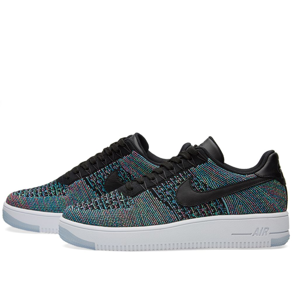 d303220a8812 Nike Air Force 1 Flyknit Low Black   Blue Lagoon