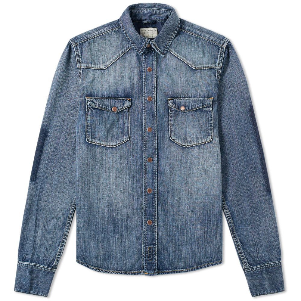 a5e1f162a1 Nudie Jonis Denim Shirt Ripped Patches