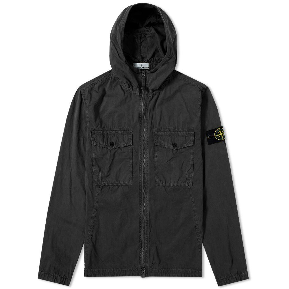 51f75279b0 Stone Island Garment Dyed Hooded Zip Shirt Black