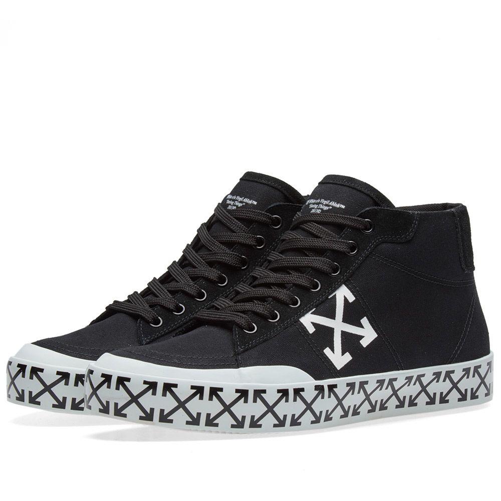 Off-White Vulcanised Arrow Mid Top Sneaker. Black   White. HK 4 f9873e69c