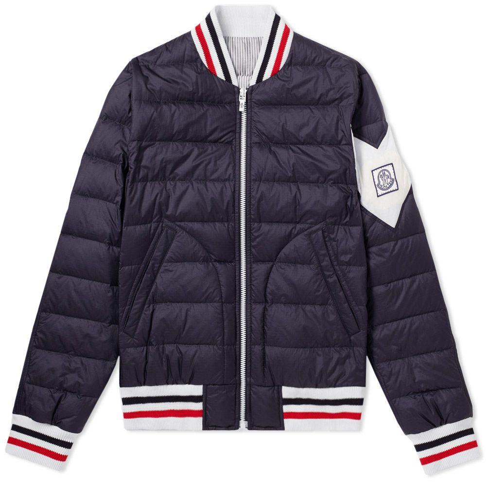 3c465ce9fdbe Moncler Gamme Bleu Chevron Sleeve Varsity Jacket Navy