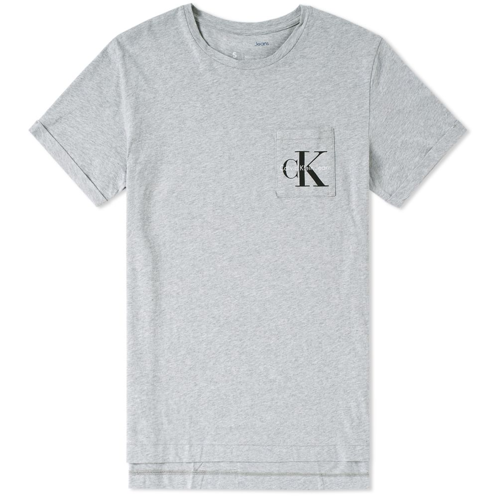c7b10426352a Calvin Klein Logo Pocket Tee Light Grey Heather