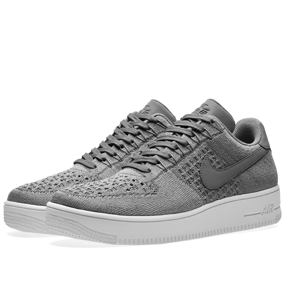 more photos 59cb8 bb4e6 Nike Air Force 1 Flyknit Low Dark Grey   White   END.