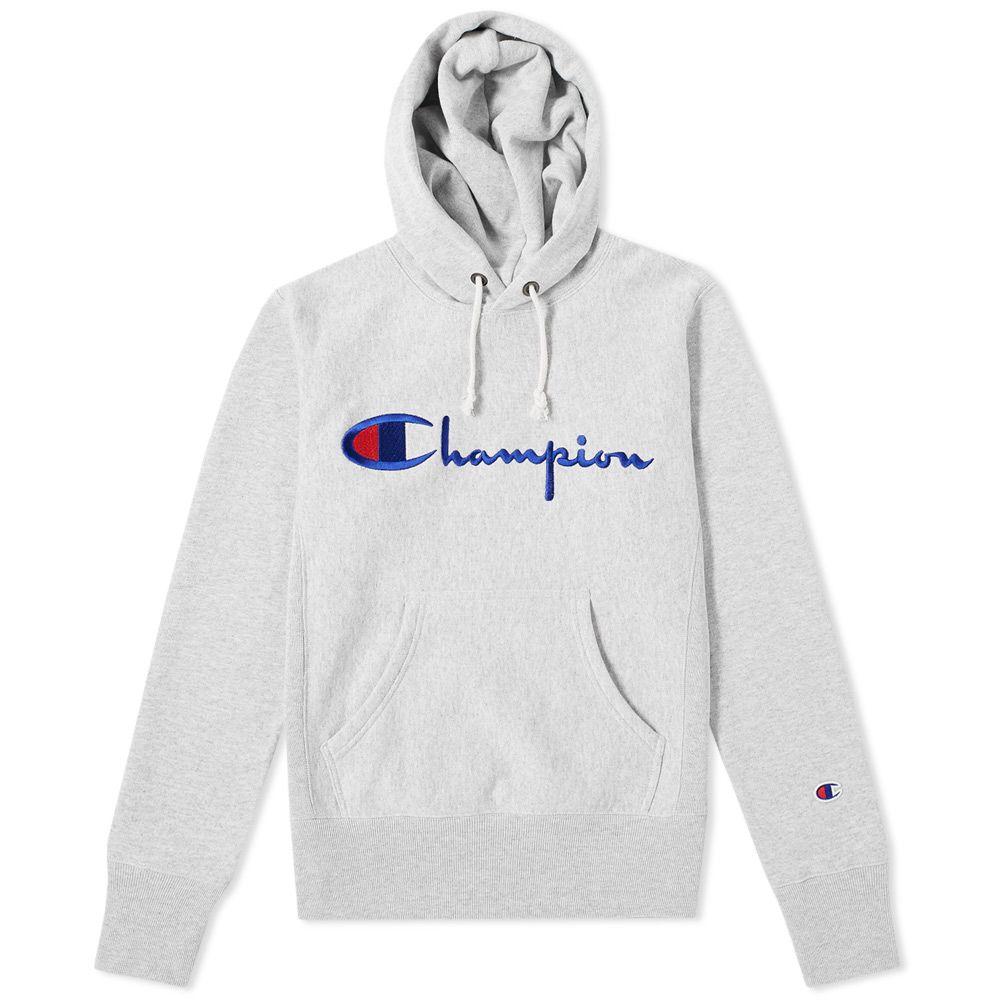 87f0afaaa00 Champion Reverse Weave Script Logo Hoody Grey Marl