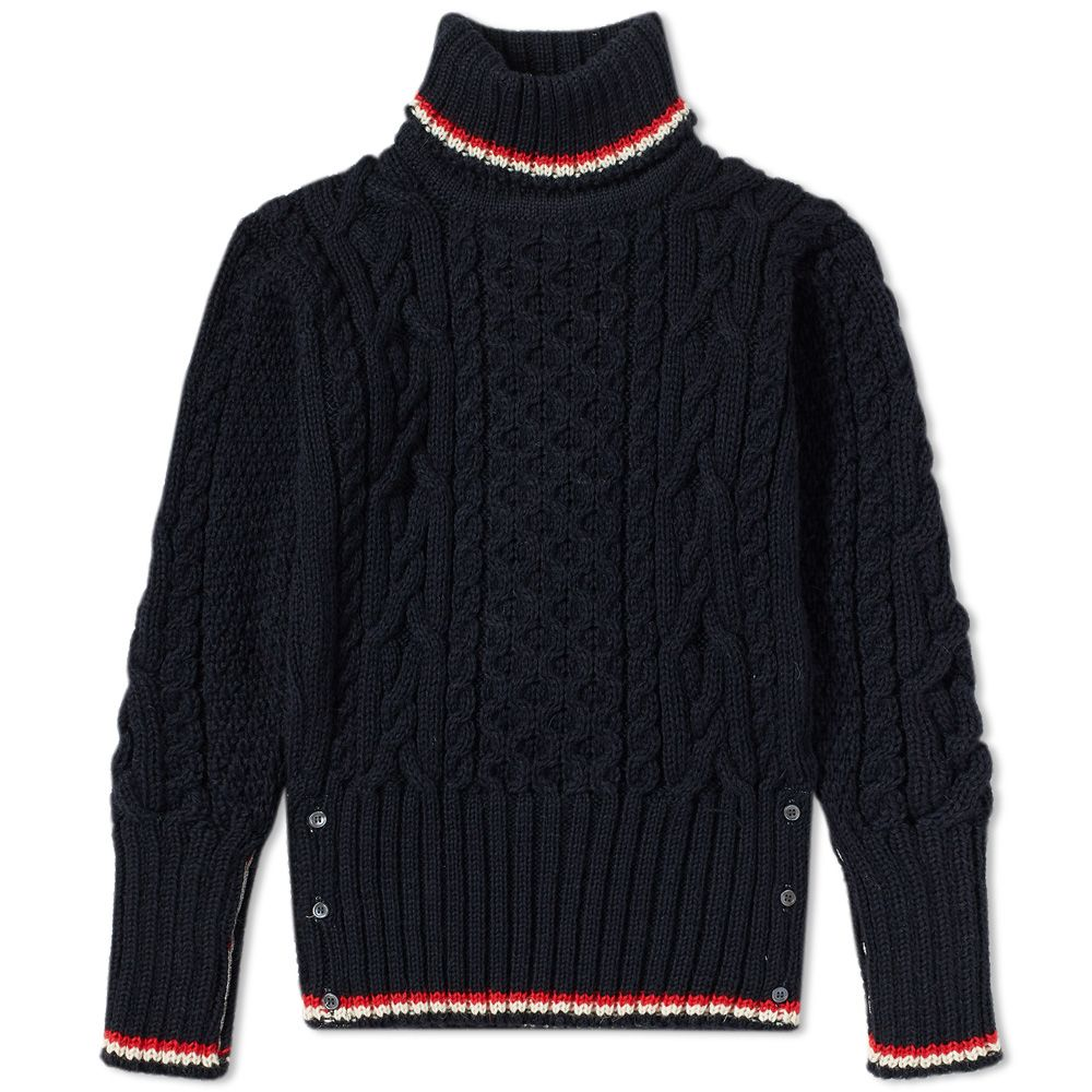 14e499e190eb1 Thom Browne Aran Roll Neck Knit Navy