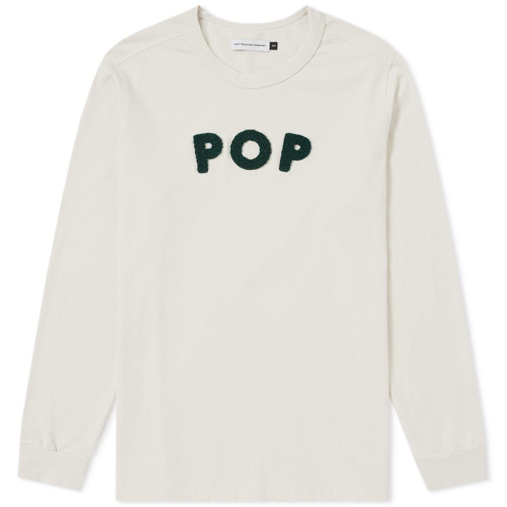 bcd9f46d80aa9 Pop Trading Company Long Sleeve Logo Applique Tee White   Green