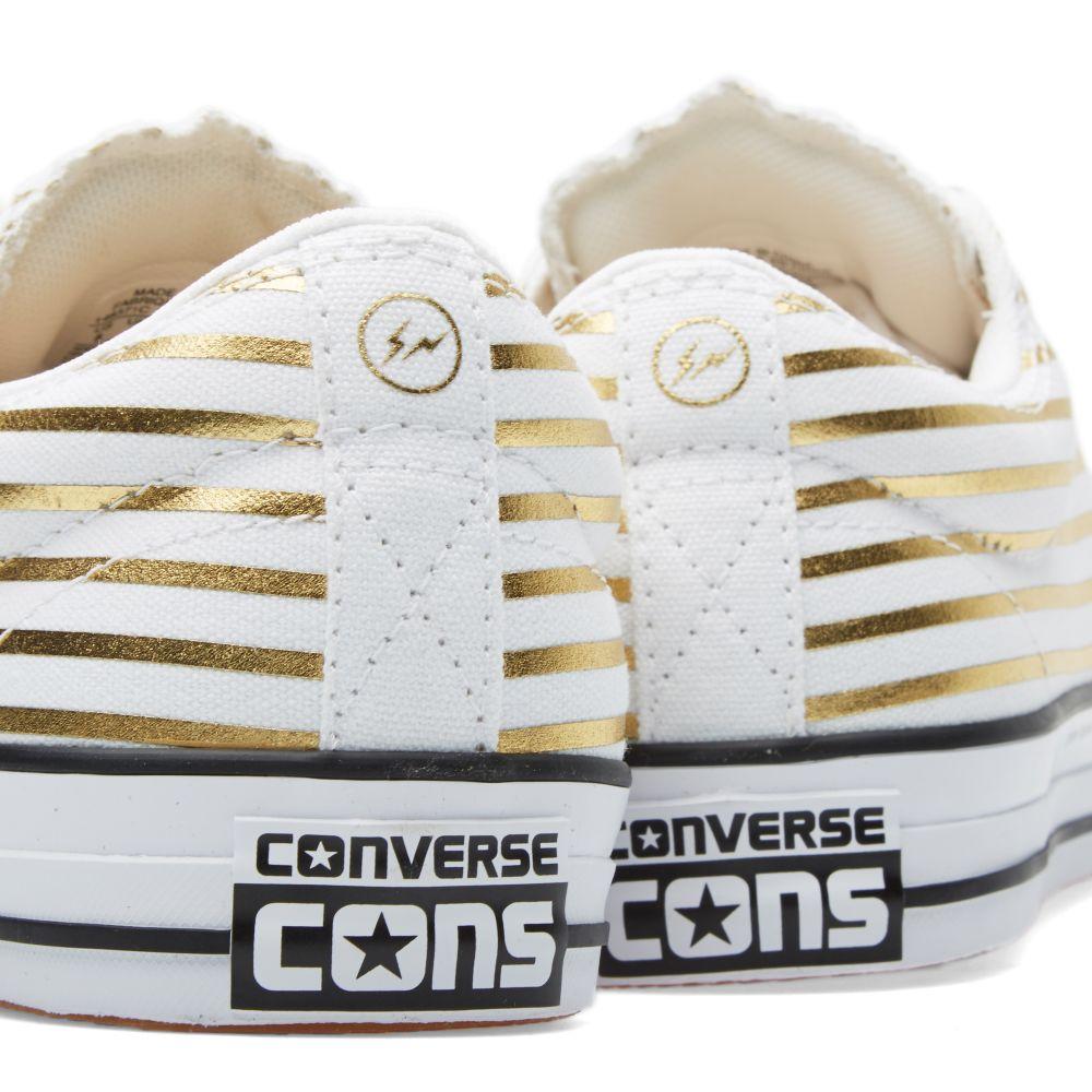 ed09c4269f08 Converse CONS x Fragment Design CTS Ox  Metallic Stripe . White   Rich Gold