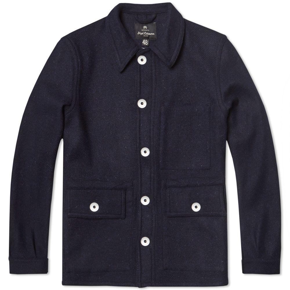 23e5db1a96a26a Nigel Cabourn x Lybro Short Work Jacket Dark Navy Harris Tweed