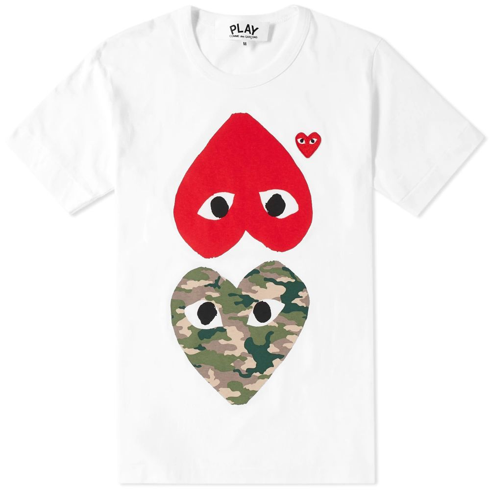 Comme Des Garcons Play Mix Heart Tee White Camo Red End