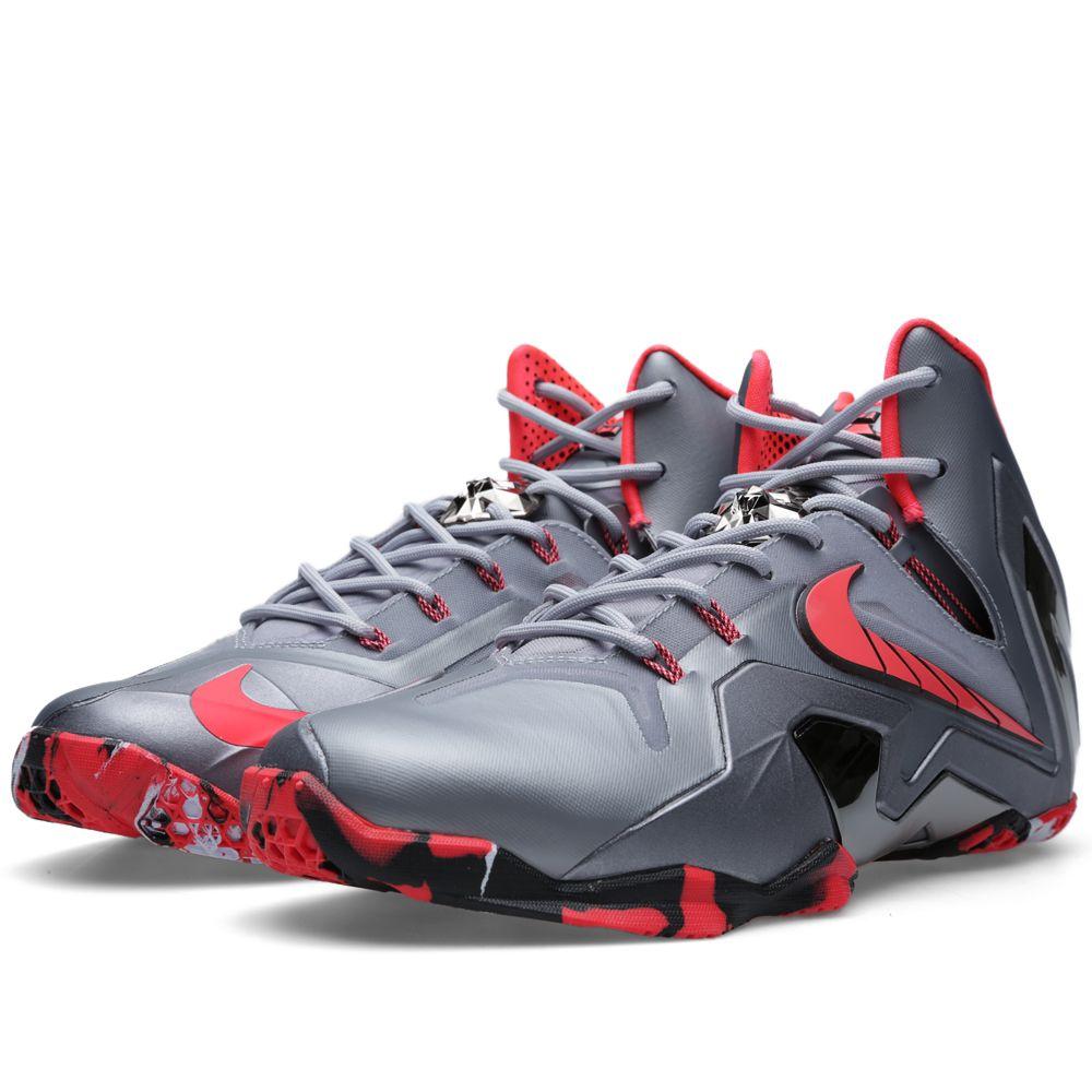 fdd162c9f09 Nike LeBron XI Elite  Team  Wolf Grey   Laser Crimson