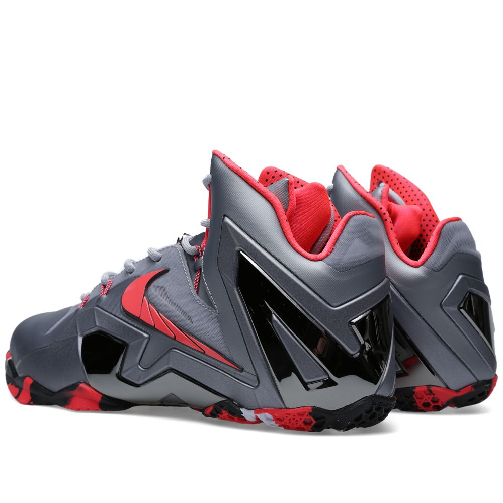 Nike LeBron XI Elite  Team  Wolf Grey   Laser Crimson  90f162d3665