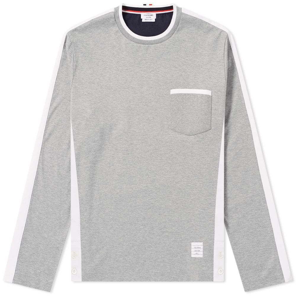 acf9f9e68c9 Thom Browne Long Sleeve Bi-Colour Tee Grey