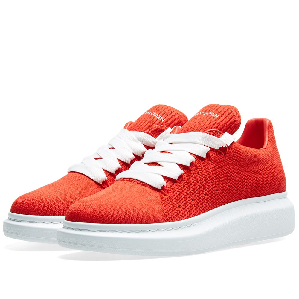 16bdaaf27e946 Alexander McQueen Knitted Wedge Sole Sneaker Flame Red