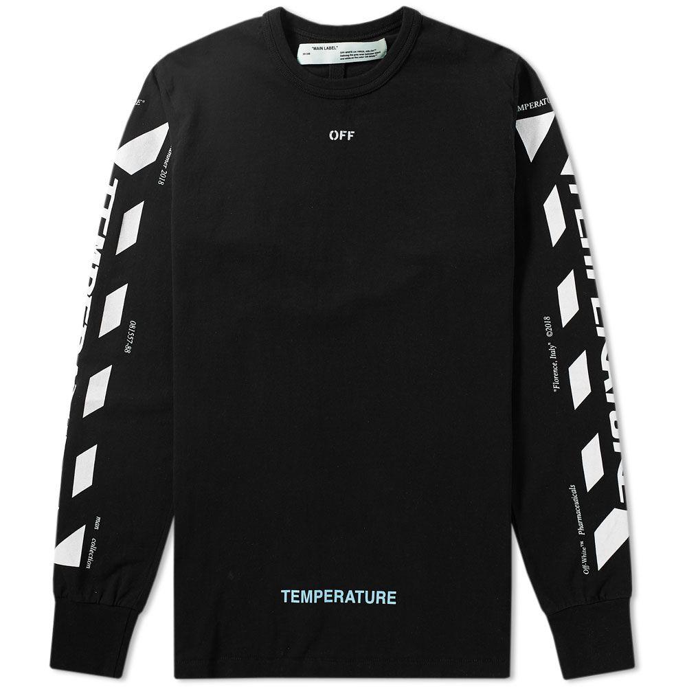 1c3d26fc4c72 Off-White Long Sleeve Diagonal Temperature Tee Black   White