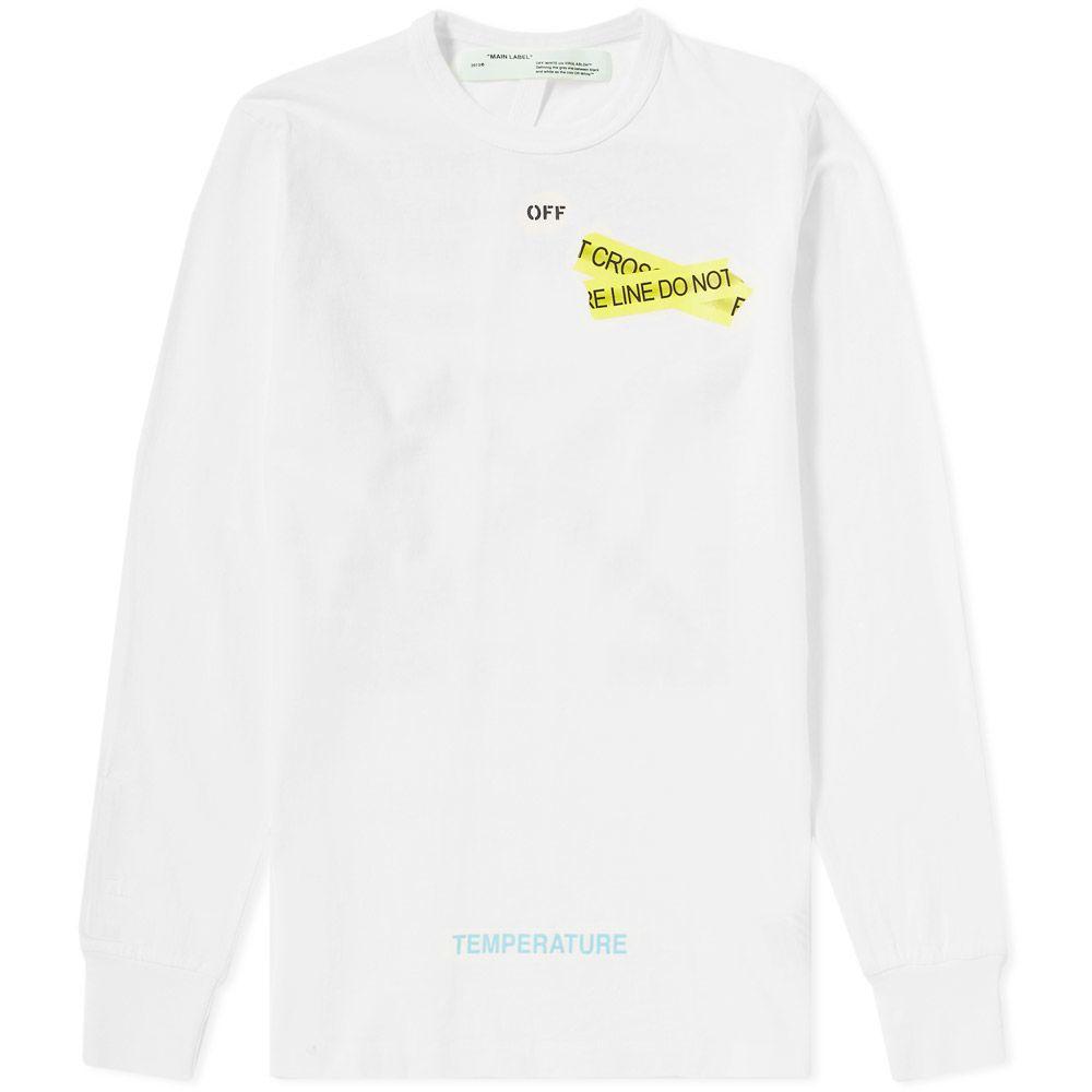 363b22336ee Off-White Long Sleeve Firetape Tee White   Yellow
