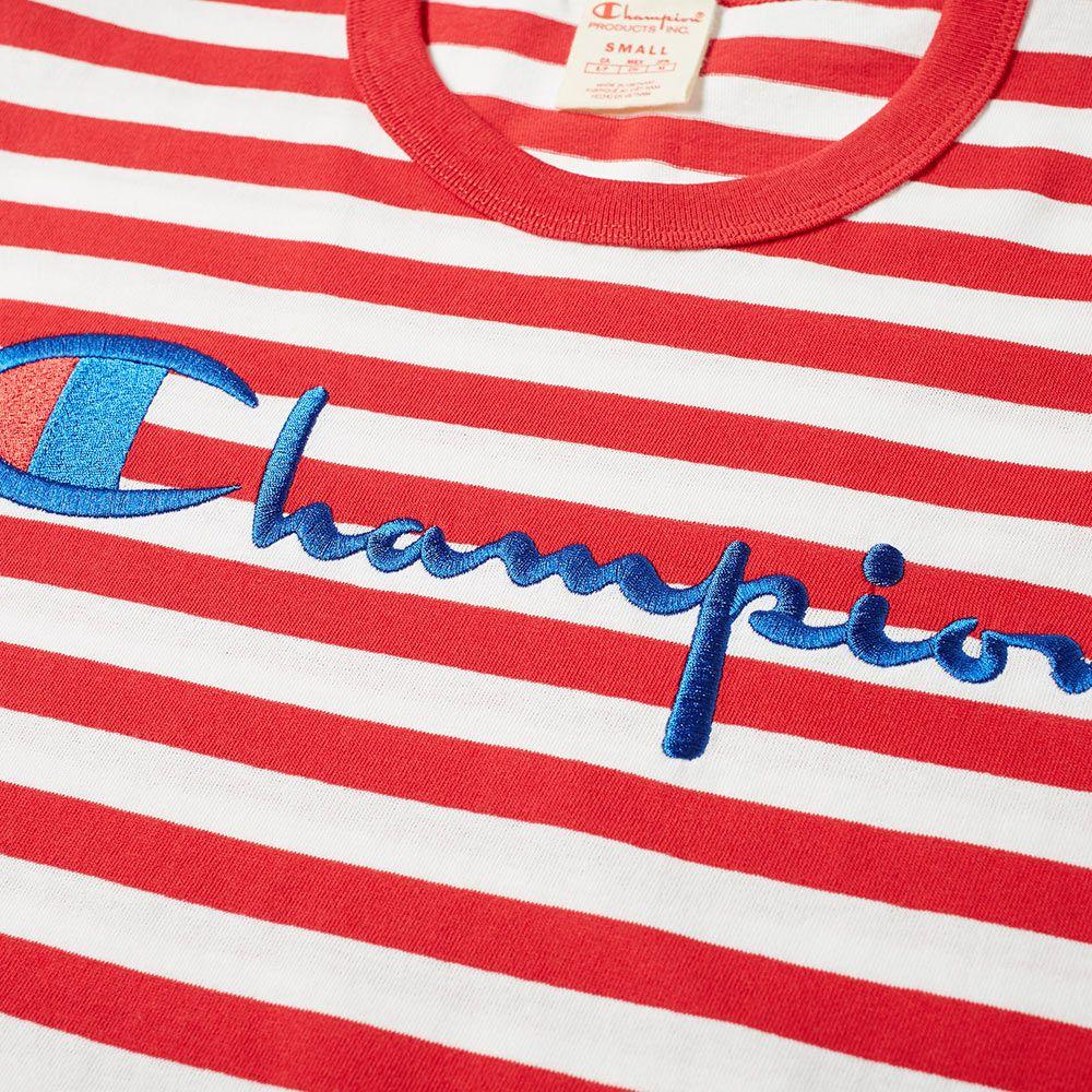 f01953f1749 Champion Reverse Weave Stripe Script Logo Tee Red   White