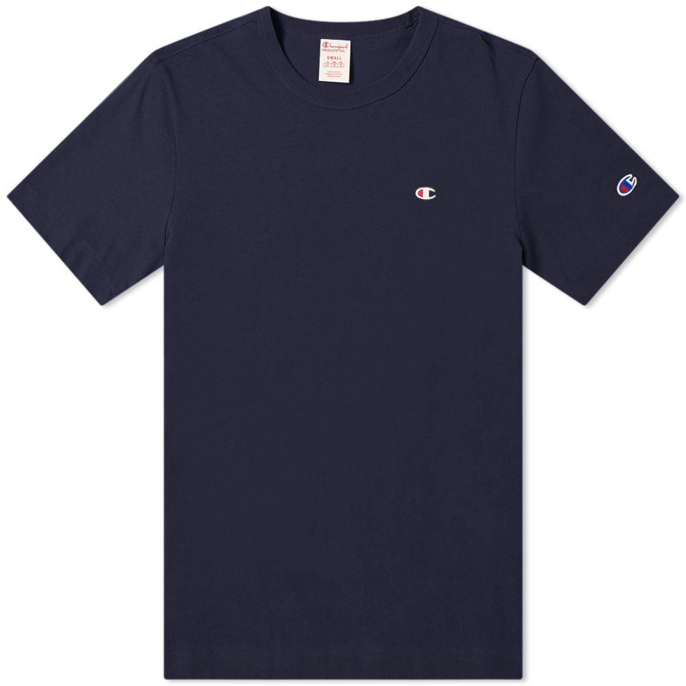 b6ae5c54d2a8 Champion Reverse Weave Rear Script Logo Tee Navy