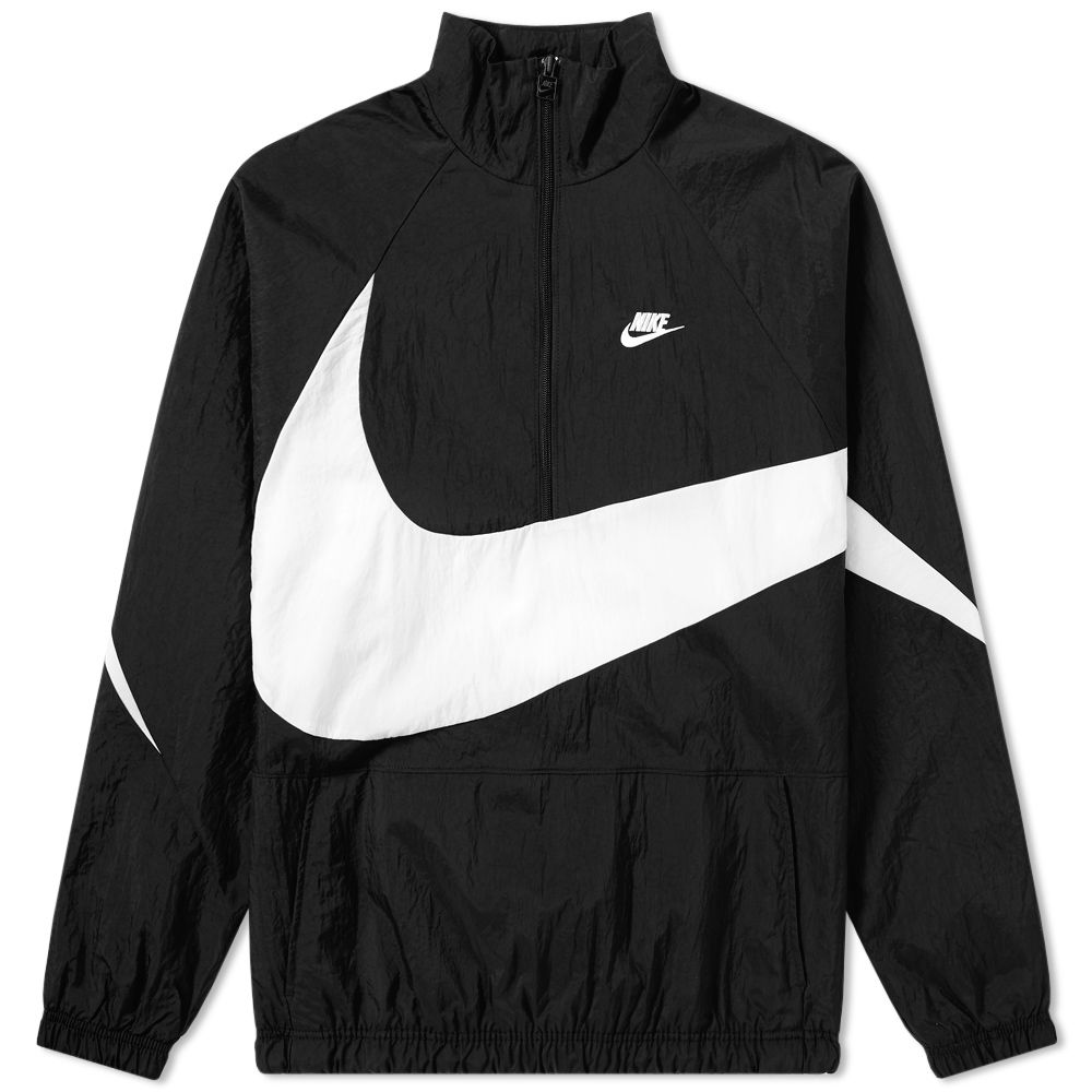 Nike Swoosh Half Zip Woven Jacket Black   White  ca033e157