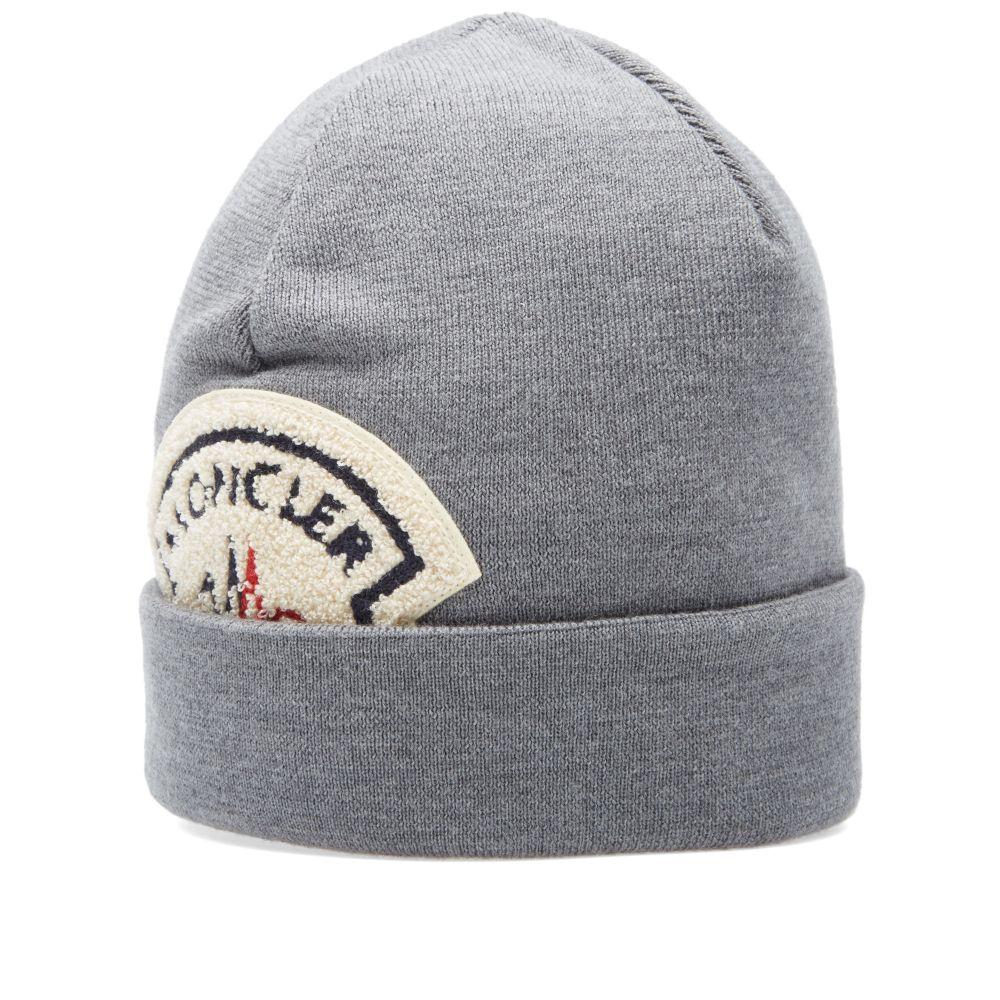 8adad96aef51 Moncler A Logo Beanie Grey