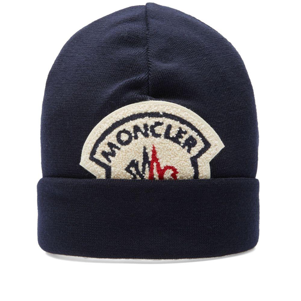 Moncler A Logo Beanie Navy  8730d0a02bc5